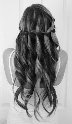 Prom Long Hairstyle with Waterfall Braid