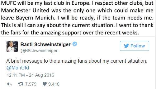 Schweinsteiger tweets