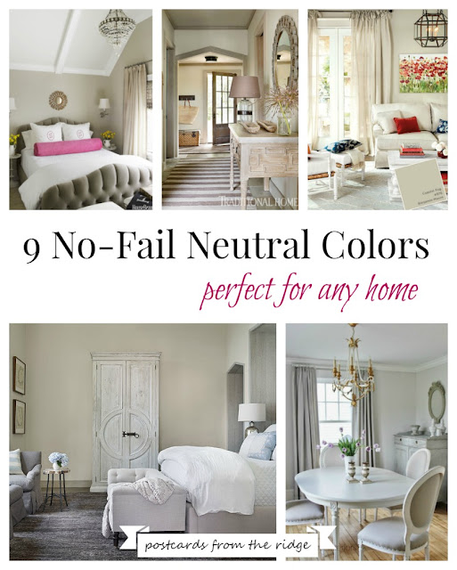 These are all such great choices for neutral paint colors. Some of my favorites. Lots of good photos with color names. Postcards from the Ridge
