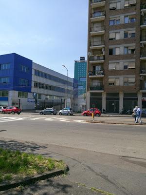 Peditiopaikka. Hotelli Barcelo on tuo vihreä torni talojen välissä.