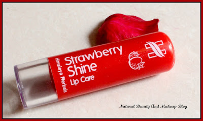 Himalaya Herbals Strawberry Shine Lip Balm - Review, FOTD and other details on Natural Beauty And Makeup Blog