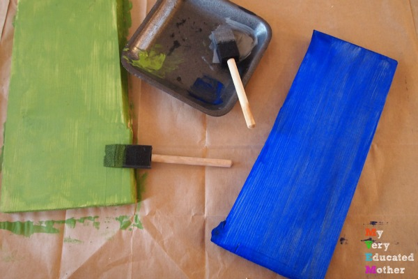 Painting a Recycled Karate Board Coat Rack