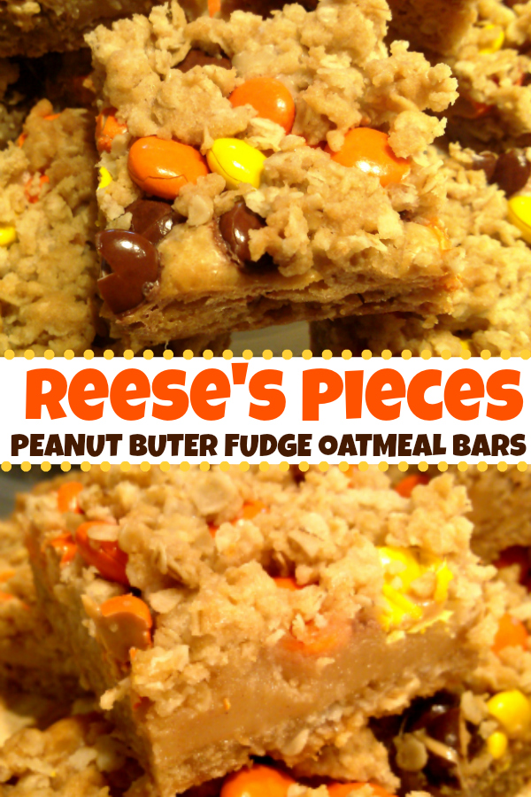 Reese's Pieces Peanut Butter Bars! Peanut butter fudge stuffed oatmeal bars topped with Reese's Pieces candies. A perfect recipe for fall or #Halloween!
