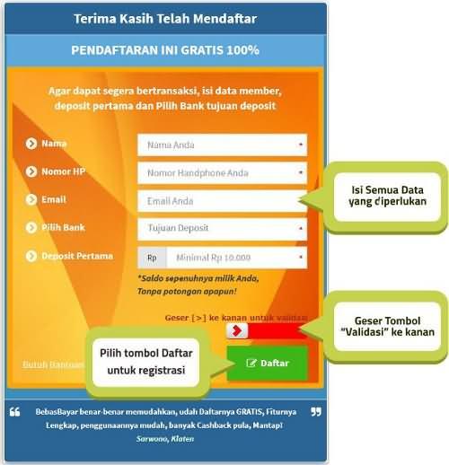 Form Pendaftaran Member BebasBayar | Gratis 100%