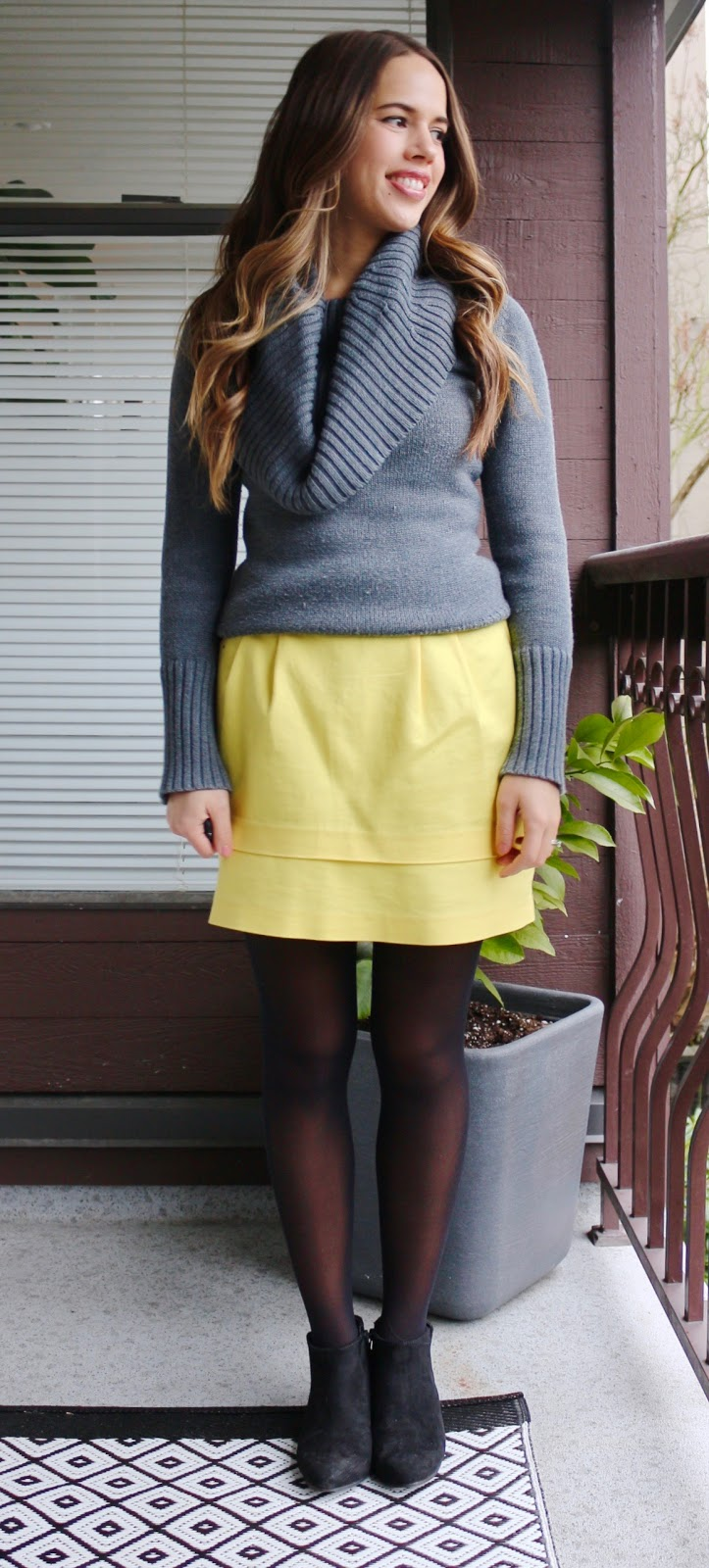 Jules in Flats - January Work Outfits (Cowl Neck Sweater with Yellow Mini Skirt)