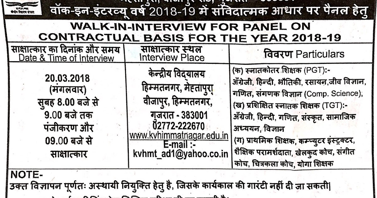 KVS Himatnagar Recruitment for PGT, TGT, PRT & Various Other Posts