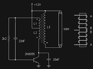 Fluorescent lamp circuit uses transistors 2N3055 circuit diagram
