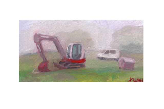 Parking with a truck in the city and mountains Oil on paper painting fine arts by kiyary