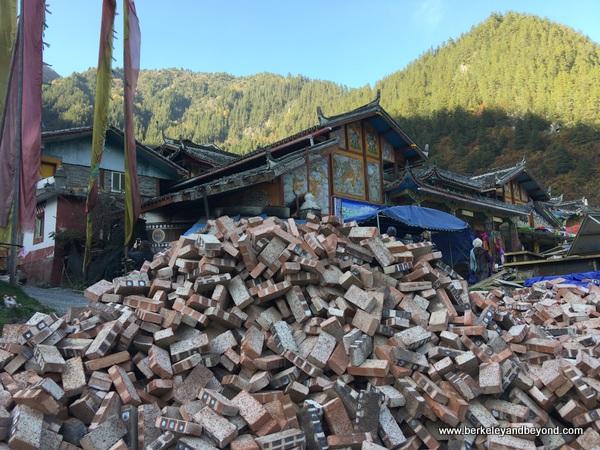 Tibetan village in Jiuzhaigou Valley in Sichuan Province of China