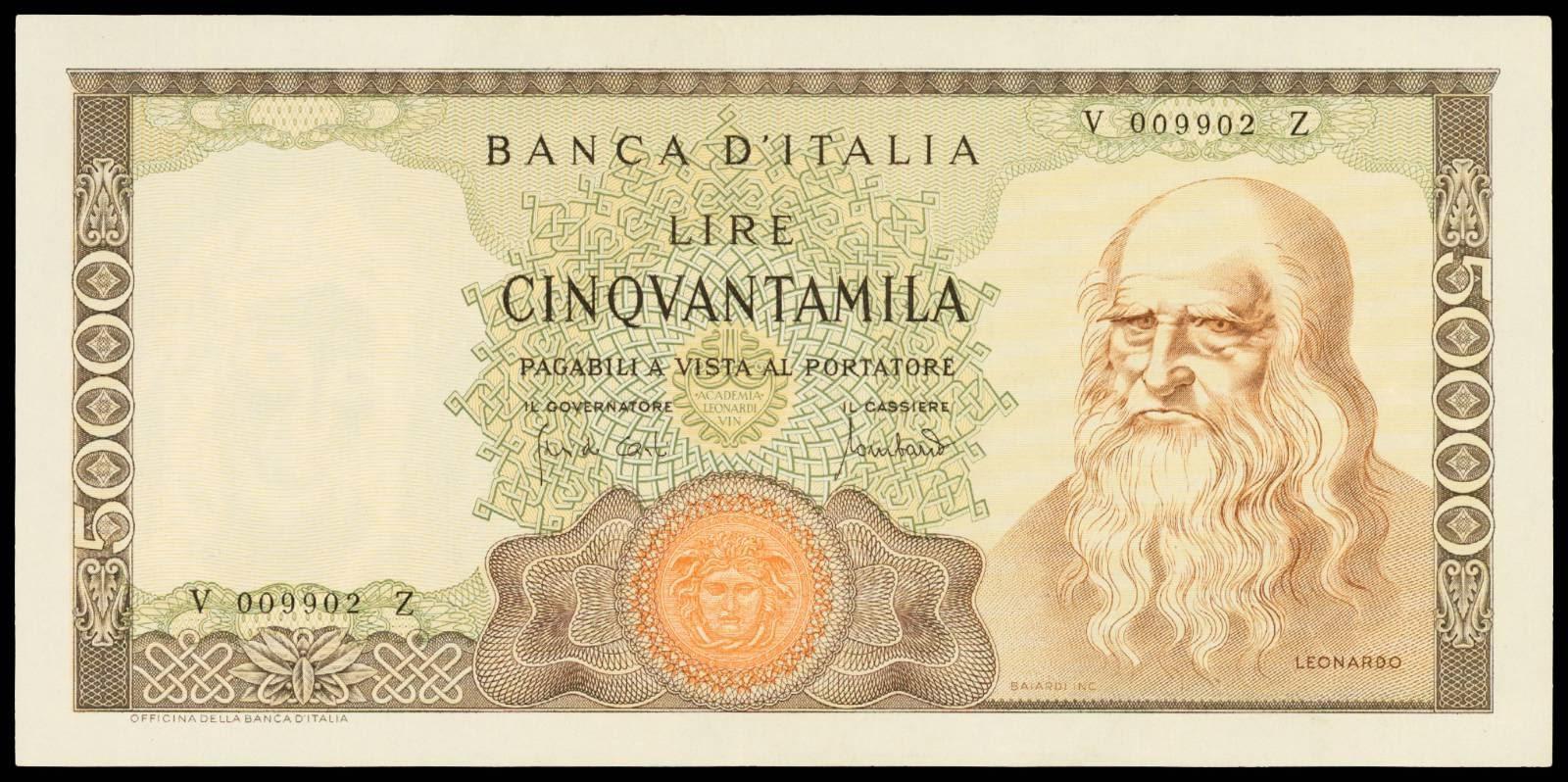 Italy 50000 Lire banknote Leonardo da Vinci