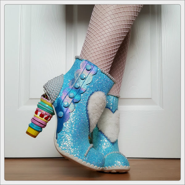 wearing Irregular Choice Bee Delicious cake heels