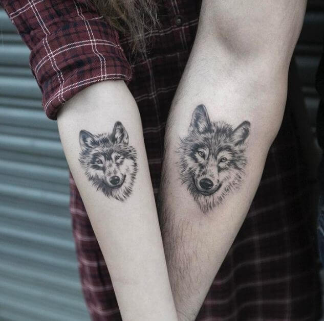 Matching Wolf Tattoos