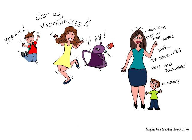 dessin illustration enfants maman saut joie vacances youpi humour