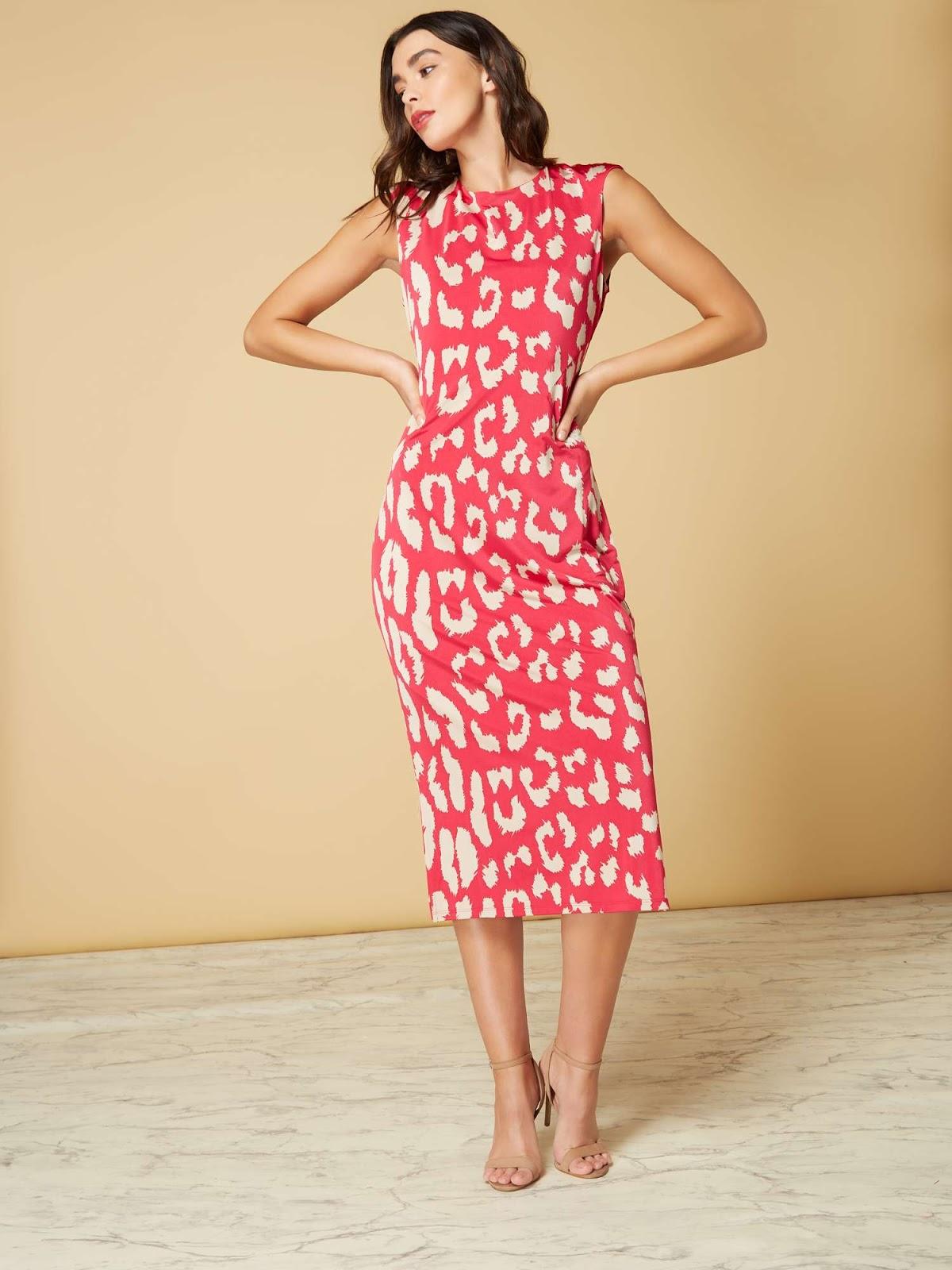 ISSA Animal Print Eden Midi Dress