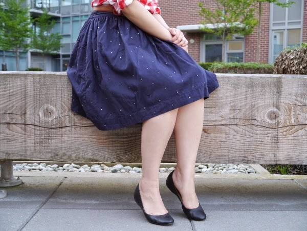 Chinti and Parker navy skirt with silver sparkles