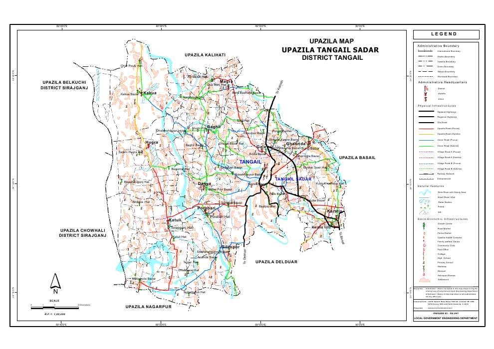 Tangail Sadar Upazila Map Tangail District Bangladesh