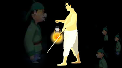 A blind man with fuel light lamp : A story for kids