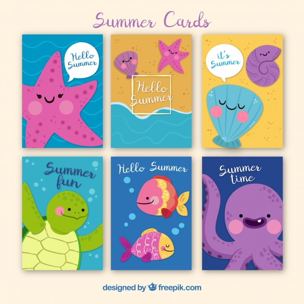 Summer cards collection with cute sea creatures Free Vector