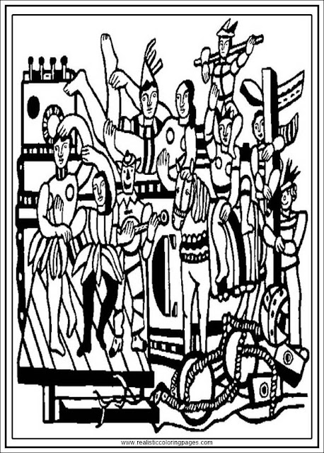 the great parade fernand Leger adults coloring pages printable