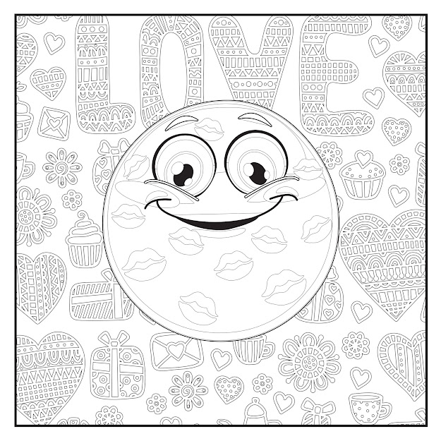 Emoji Love Coloring Book  Pages For Adults Teens And Kids