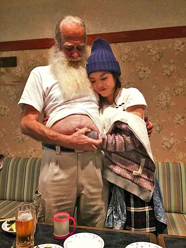 daughter-in-law, grandpa, beer belly