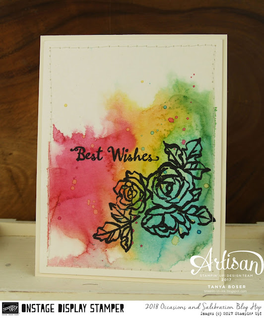 Watercolor rainbow with Petal Palette from the 2018 Stampin' Up! Occasions Mini~Tanya Boser as Display Stamper