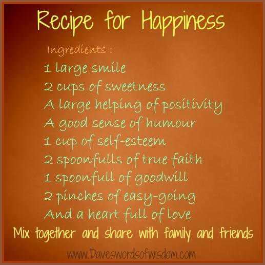 Recipe Happy Life Poem