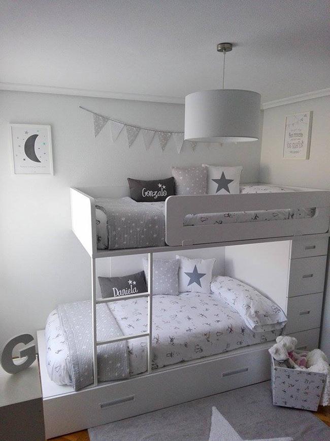 La habitaci n de los mellizos de lorena en blanco y gris for Dormitorio matrimonio blanco y gris