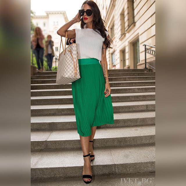 Πλισέ μίντι  πράσινη φούστα DOMINIQUE GREEN