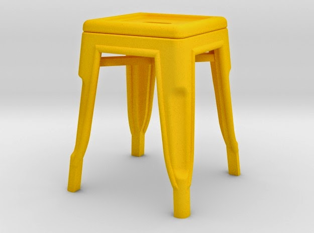 Modern dolls house miniature low Pauchard stool in yellow.