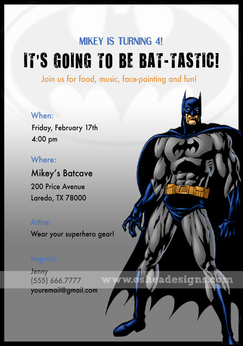Bat Tastic Batman Birthday Invitations
