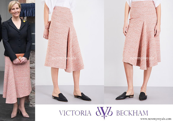 Countess Sophie wore Victoria Beckham Tweed Side-Drape Midi Skirt