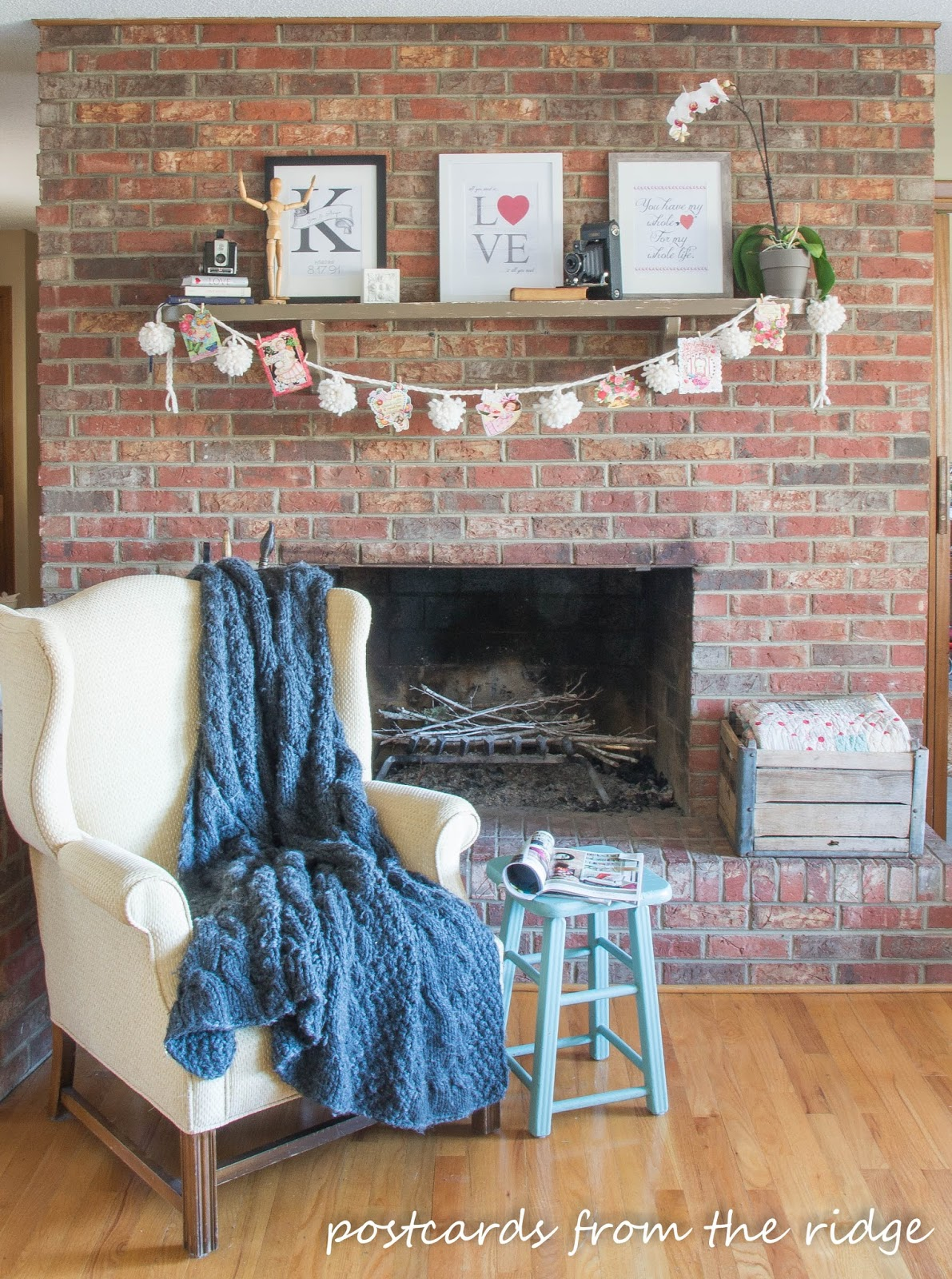 Valentine's mantel with free printable artwork. Postcards from the Ridge.
