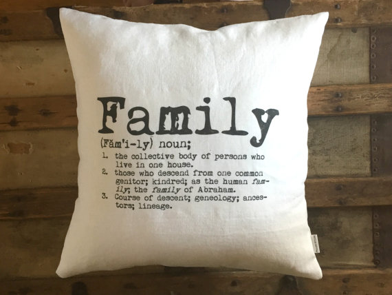 neutral family pillow