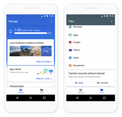 Google launches Files Go app for Android, A faster way to clean up, find and share files on your phone