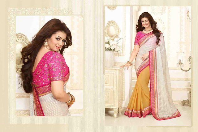 Off White & Mustard Brasso Saree With Raw Silk Blouse