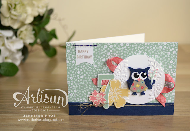 #TGIFc57, Owl Builder Punch, Affectionately Yours DSP, Flirty Flamingo Ribbon, Stampin' Up!, Papercraft by Jennifer Frost, Love and Affection, Girls birthday card