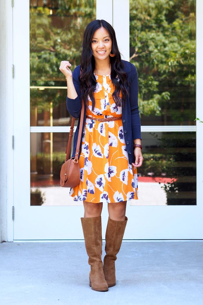orange floral print dress + navy cardigan + tan suede boots