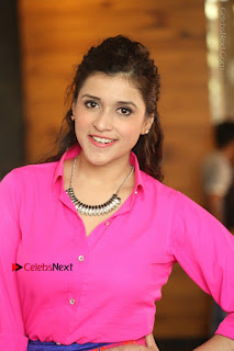 Actress Mannar Chopra in Pink Top and Blue Skirt at Rogue movie Interview  0166.JPG
