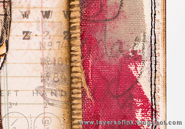 Layers of ink - Fabric Pieced Cards tutorial by Anna-Karin with Dina Wakley stamps and Tim Holtz Eclectic Elements.