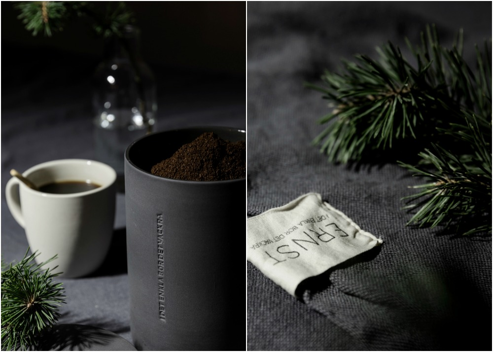 Ernst, Sweden, scandinavian design, kitchen, nordic home, Visualaddict, photography, valokuvaaja, Frida Steiner, dark, tablemood, tablescape, linen, ceramics, keramiikka, keittiö, kattaus, table setting, dinner, Christmas, mug, coffee, kahvimuki