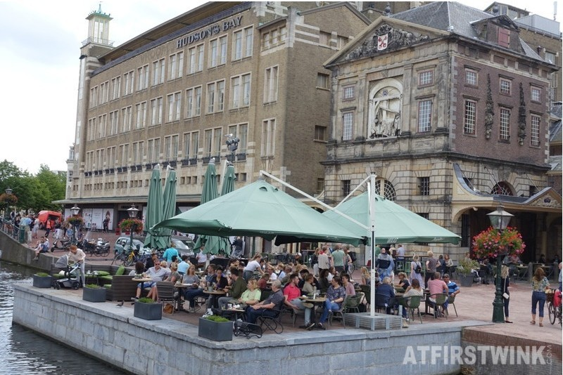 Hudson's bay store de Waag Leiden Netherlands crowded terrace