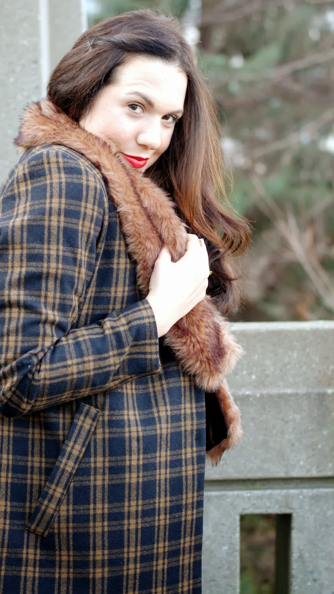 H&M plaid wool coat