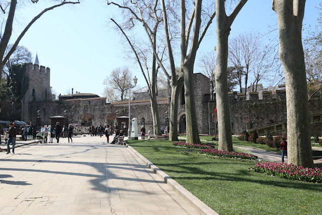 A beautiful Gulhane Park (House of Flowers) in Turkish is well-maintained with various flowers, trees and wider paved walkway for public, joggers, prams and bikes in Istanbul, Turkey