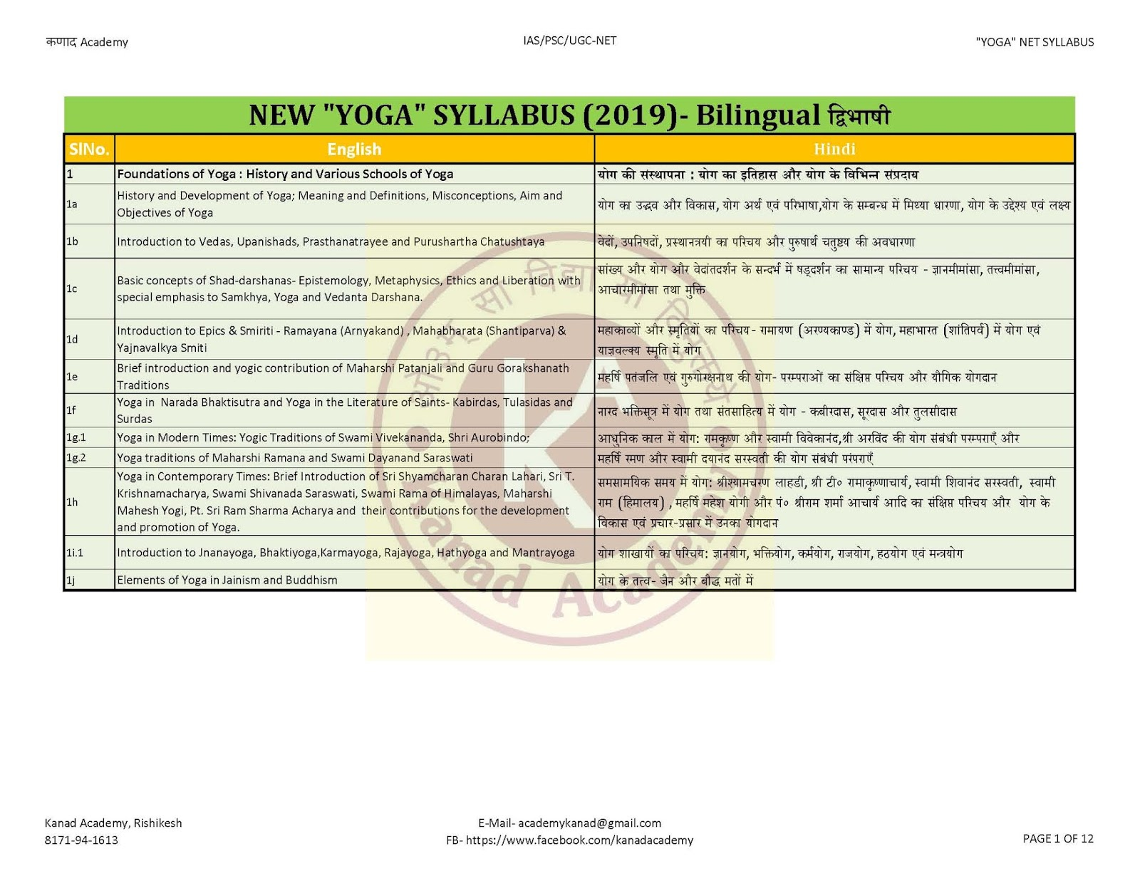 New UGC NET YOGA SYLLABUS (From 2019) IN HINDI/ English