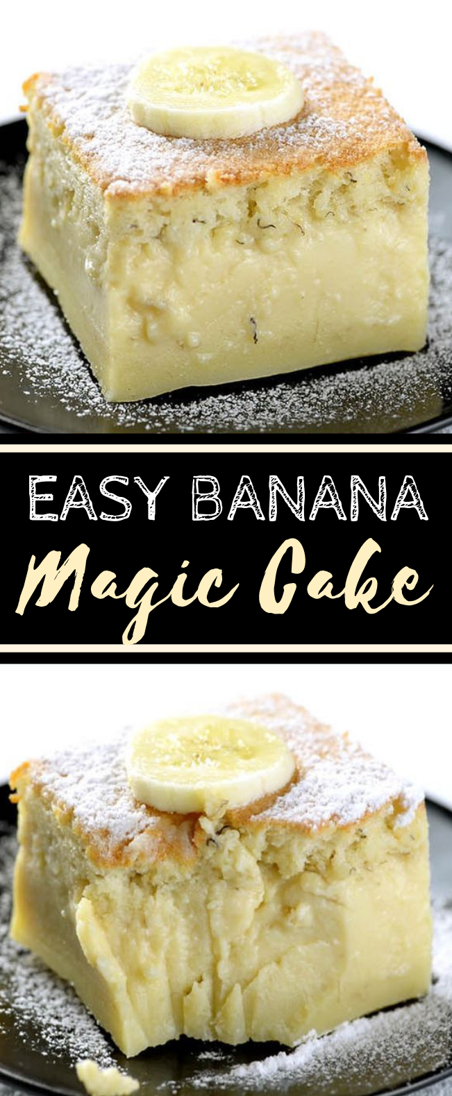 Easy Banana Magic Cake #dessert #cake