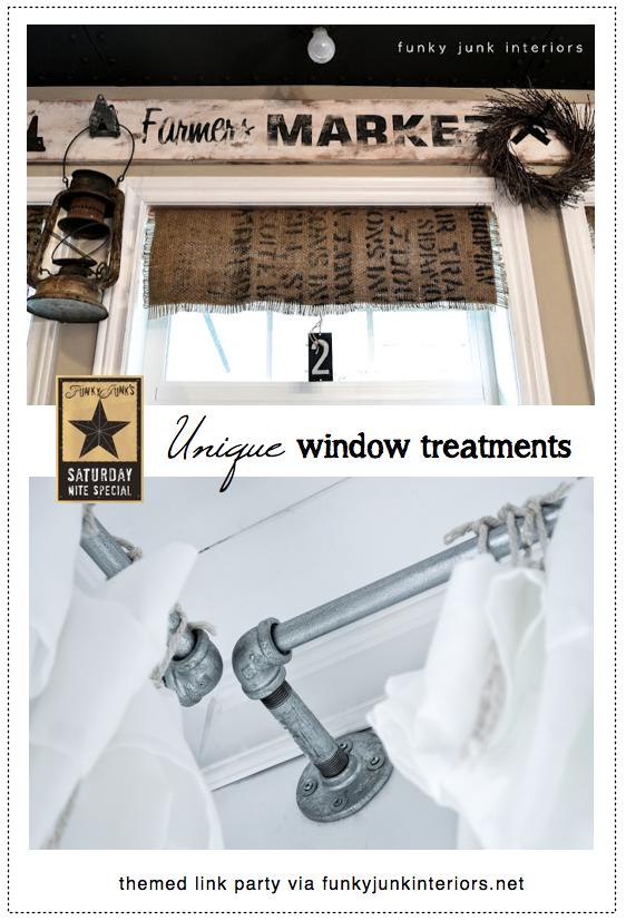 Unique window treatments, a themed link party via Funky Junk Interiors