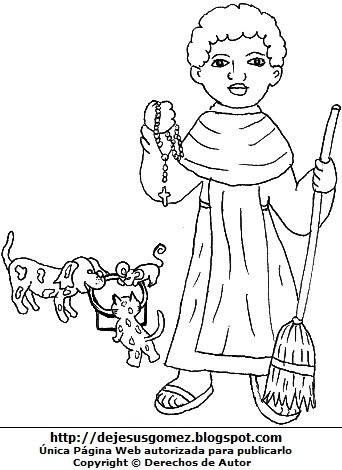 Dibujo de San Martín de Porres para niños colorear e  imprimir. Imagen de San Martín de Porres de Jesus Gómez