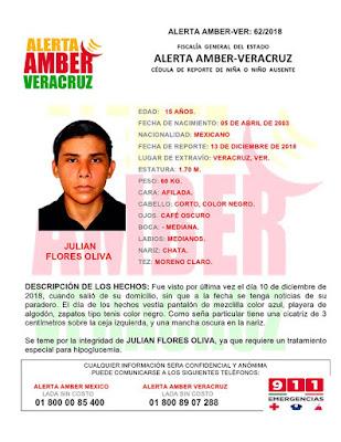 Activan Alerta Amber para Julian Flores Silva en puerto de Veracruz
