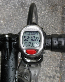 Raindops on bike computer, 2,320 ft. of ascent; 2 hours, 10 minutes, 23 seconds of time; heart rate 121 bpm.
